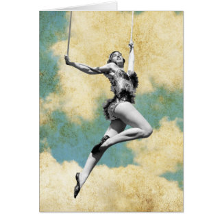 Vintage Trapeze Artist Flying High Greeting Card