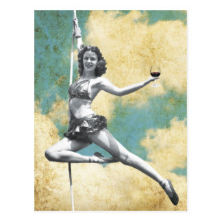 Vintage Trapeze Woman with Wine Postcard