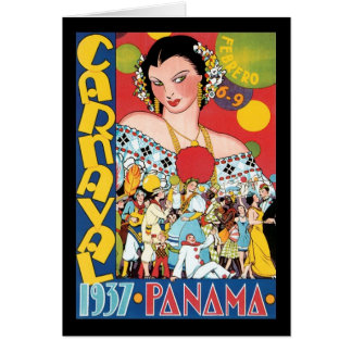 Vintage Travel 1937 Panama Carnival Party Woman Card