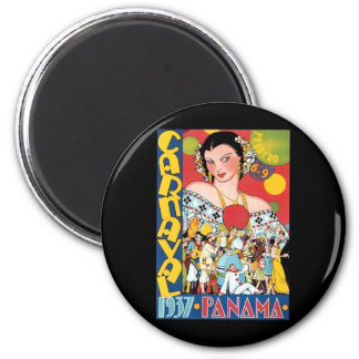 Vintage Travel 1937 Panama Carnival Party Woman Magnet
