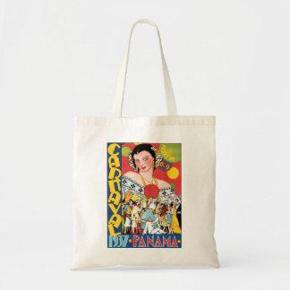 Vintage Travel 1937 Panama Carnival Party Woman Tote Bag