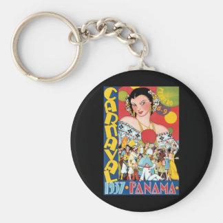 Vintage Travel 1937 Panama Carnival Woman Party Key Chain