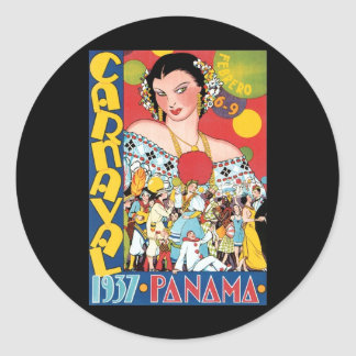Vintage Travel 1937 Panama Carnival Woman Party Classic Round Sticker
