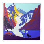Vintage Travel Ad Moose Gift Ceramic Accent Tile