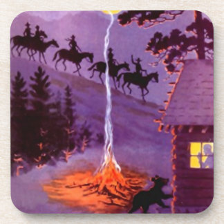 Vintage Travel Ads Coasters Trail Riding Camp Bear