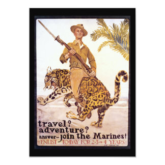 Vintage Travel Adventure Join the Marines Poster 5x7 Paper Invitation Card