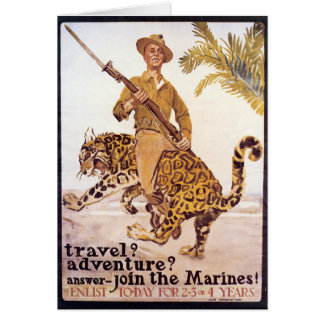 Vintage Travel Adventure Join the Marines Poster Greeting Card