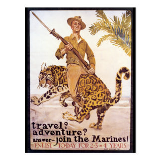 Vintage Travel Adventure Join the Marines Poster Postcard