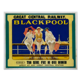 Vintage Travel Advert Blackpool England 1900 s Posters
