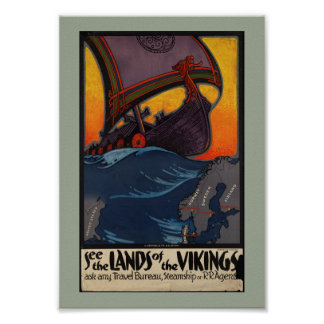 Vintage Travel Advertisement Land of the Vikings Poster