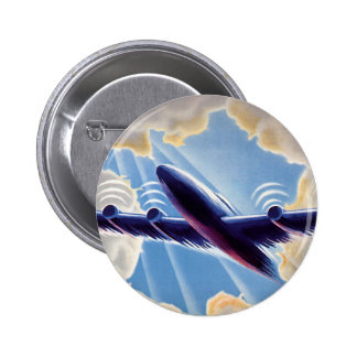 Vintage Travel, Airplane Flying in Clouds in Sky Button
