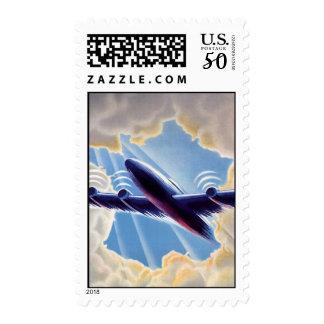 Vintage Travel, Airplane Flying in Clouds in Sky Postage