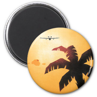 Vintage Travel, Airplane Over Hawaiian Islands 2 Inch Round Magnet