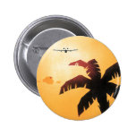 Vintage Travel, Airplane Over Hawaiian Islands Button