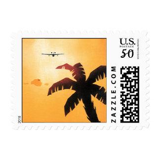 Vintage Travel, Airplane Over Hawaiian Islands Postage