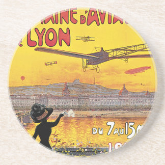 Vintage Travel, Airplanes Air Show, Lyon, France Drink Coaster