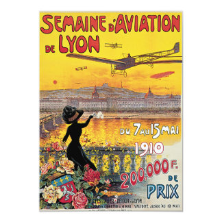 Vintage Travel, Airplanes Air Show, Lyon, France 5x7 Paper Invitation Card