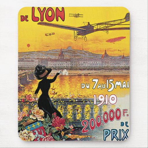 Vintage Travel, Airplanes Air Show, Lyon, France Mouse Pad