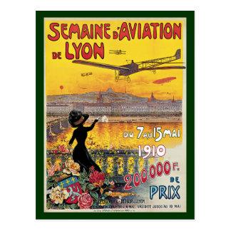 Vintage Travel, Airplanes Air Show, Lyon, France Postcard