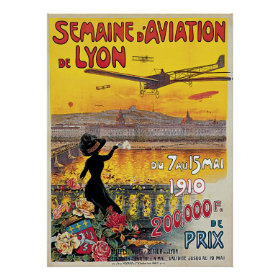 Vintage Travel, Airplanes Air Show, Lyon, France Poster