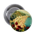 Vintage Travel, Amalfi Italian Coast Beach 2 Inch Round Button