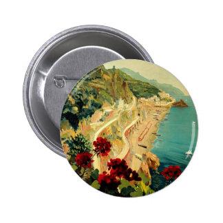 Vintage Travel, Amalfi Italian Coast Beach Pinback Button