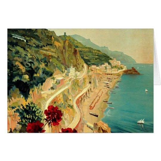 Vintage Travel, Amalfi Italian Coast Beach Card