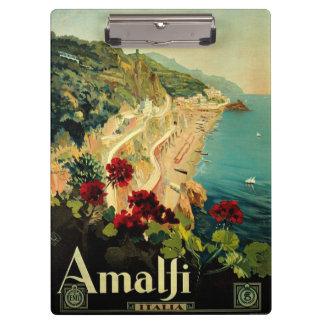 Vintage Travel, Amalfi Italian Coast Beach Clipboard