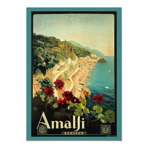 """Vintage Travel, Amalfi Italian Coast Beach 5"""" X 7"""" Invitation Card"""