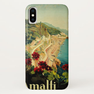 Vintage Travel, Amalfi Italian Coast Beach iPhone X Case