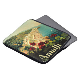 Vintage Travel, Amalfi Italian Coast Beach Laptop Sleeve