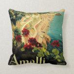 Vintage Travel, Amalfi Italian Coast Beach Pillow