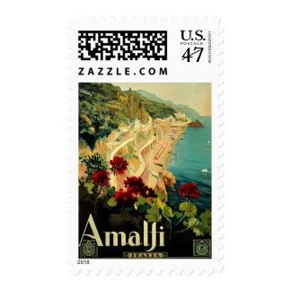 Vintage Travel, Amalfi Italian Coast Beach Postage Stamp