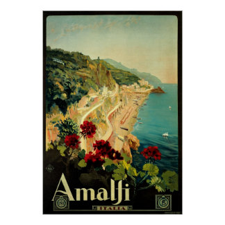 Vintage Travel, Amalfi Italian Coast Beach Poster