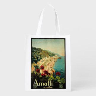 Vintage Travel, Amalfi Italian Coast Beach Reusable Grocery Bag