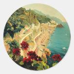 Vintage Travel, Amalfi Italian Coast Beach Classic Round Sticker