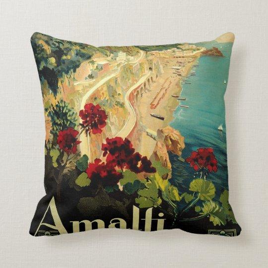 Vintage Travel, Amalfi Italian Coast Beach Throw Pillow
