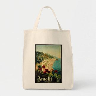 Vintage Travel, Amalfi Italian Coast Beach Tote Bag