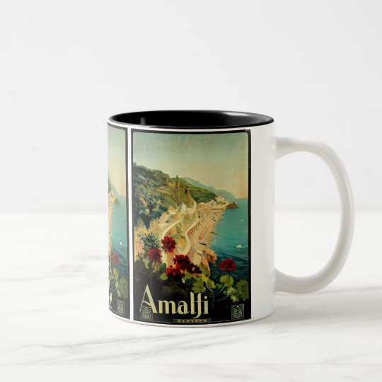 Vintage Travel, Amalfi Italian Coast Beach Two-Tone Coffee Mug