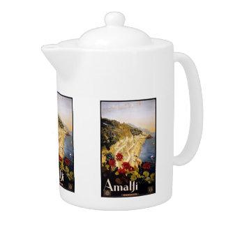 Vintage Travel Amalfi Italy teapot