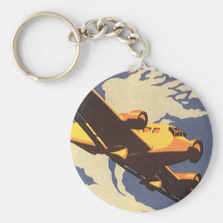 Vintage Travel and Transportation Airplane Flying Basic Round Button Keychain