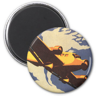 Vintage Travel and Transportation Airplane Flying Magnet