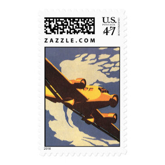 Vintage Travel and Transportation Airplane Flying Postage Stamp
