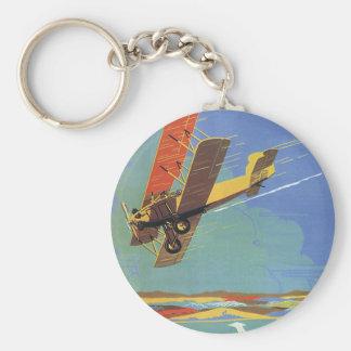 Vintage Travel and Transportation Antique Airplane Basic Round Button Keychain