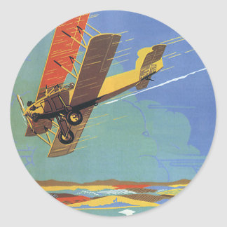 Vintage Travel and Transportation Antique Airplane Classic Round Sticker