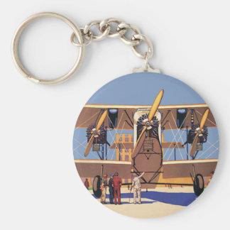 Vintage Travel and Transportation Biplane Airplane Keychain