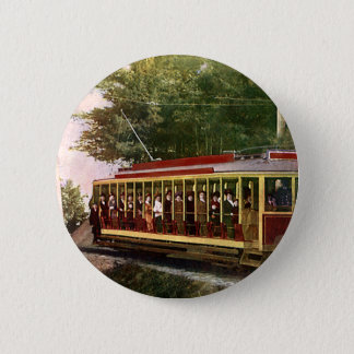 Vintage Travel and Transportation Electric Trolley Pinback Button