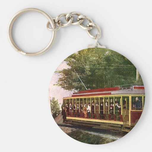 Vintage Travel and Transportation Trolley People Key Chain