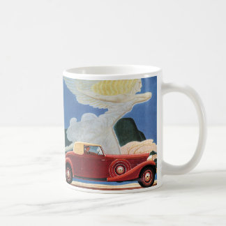 Vintage Travel, Antique Red Car with Cloud Woman Coffee Mug