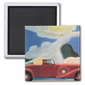 Vintage Travel, Antique Red Car with Cloud Woman Magnet